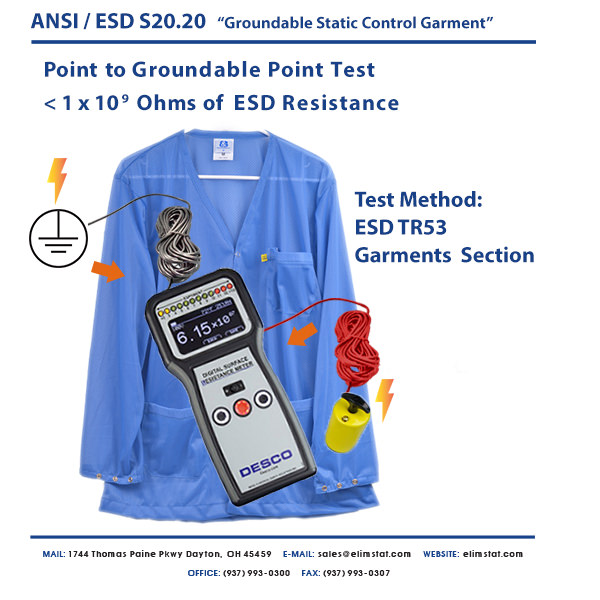 RTG Groundable Static Control Garment Test for ESD Smocks